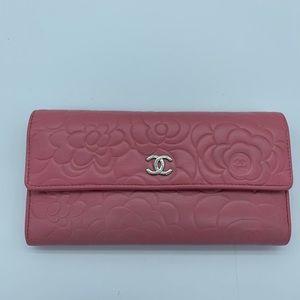 Chanel lambskin Camellia long Wallet